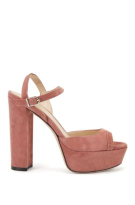 Platform sandals in suede with ankle strap, Open Brown
