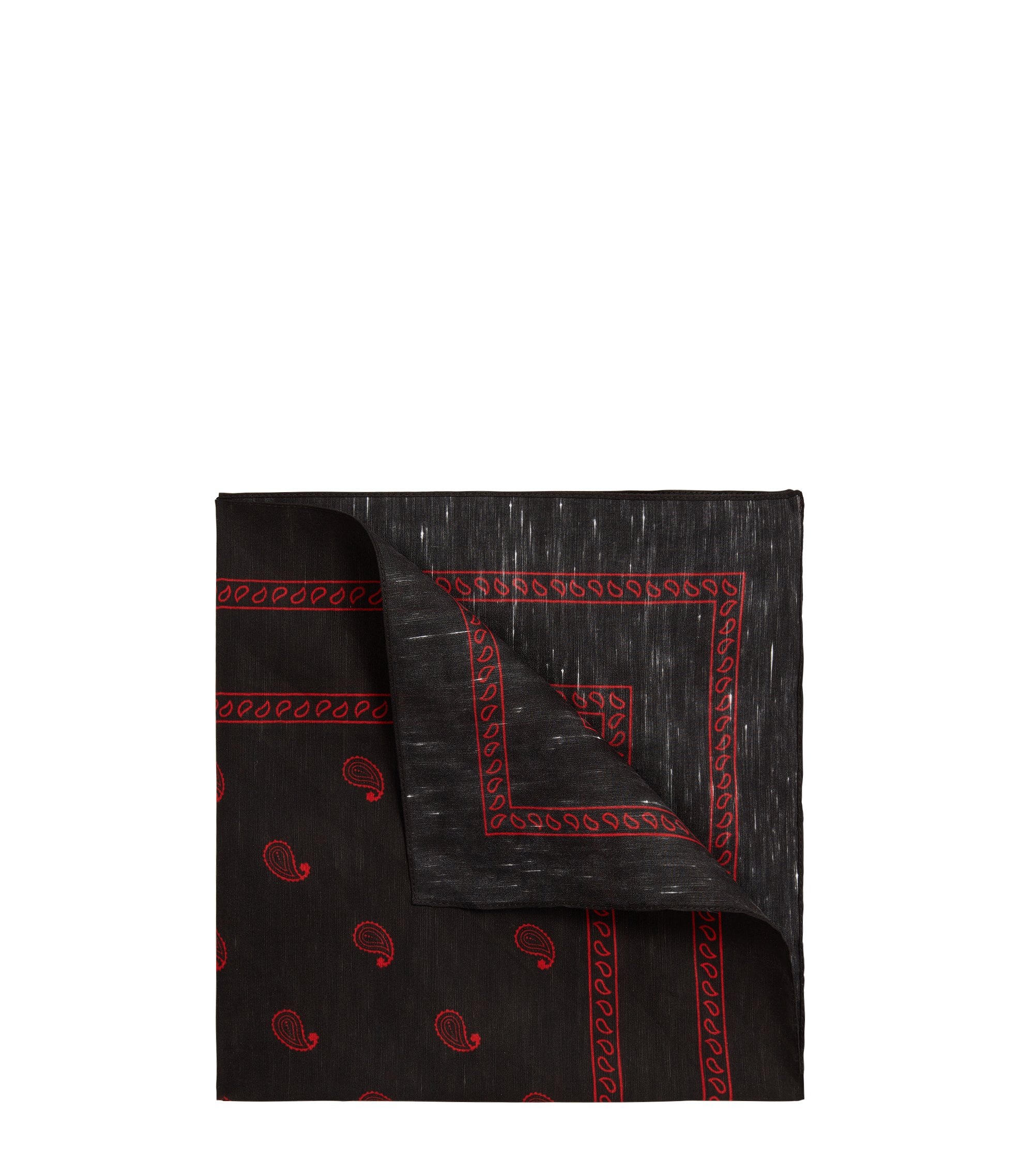 Linen-mix pocket square with paisley print, Red