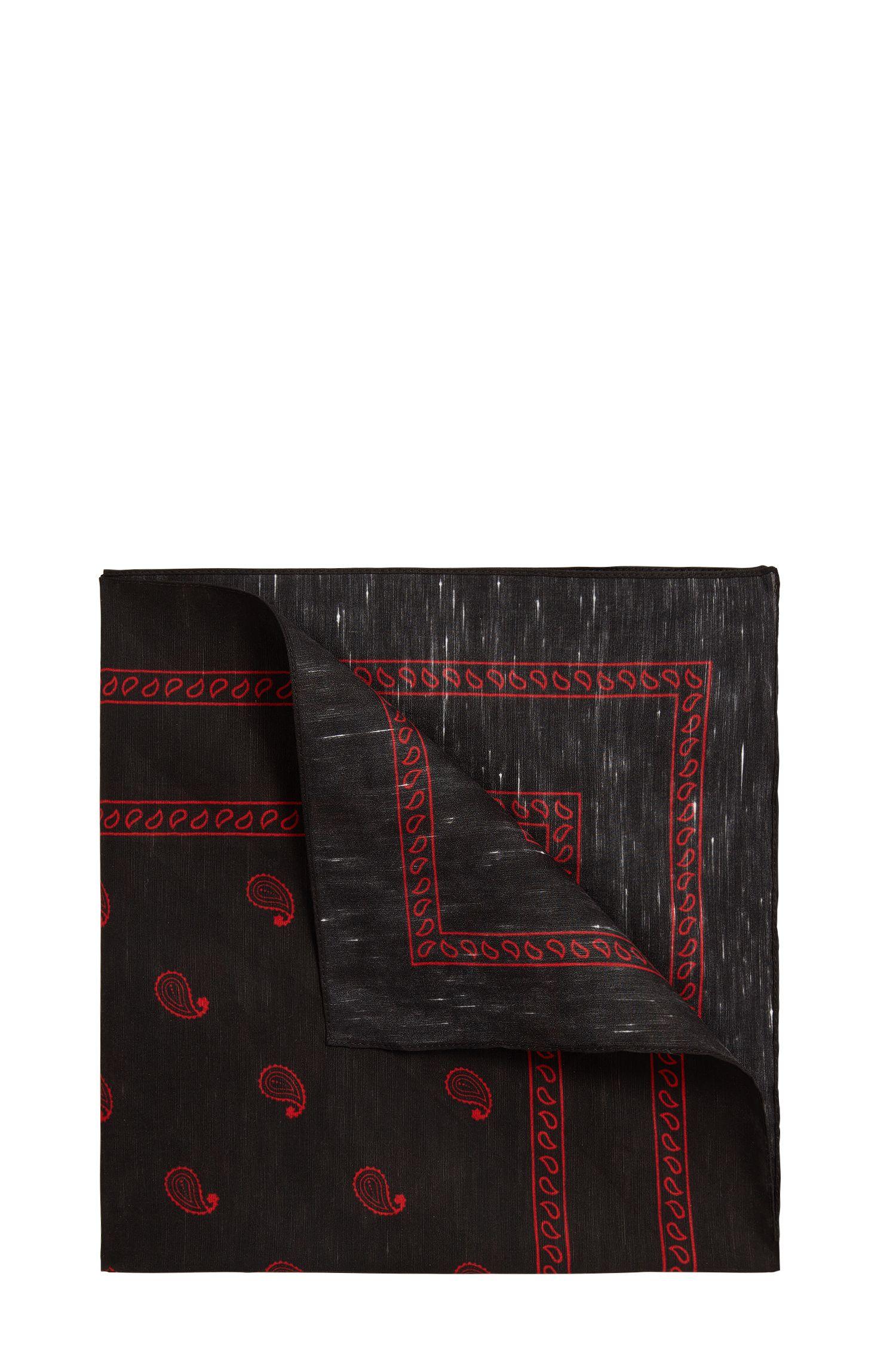 Pochet van een linnenmix met paisleyprint: