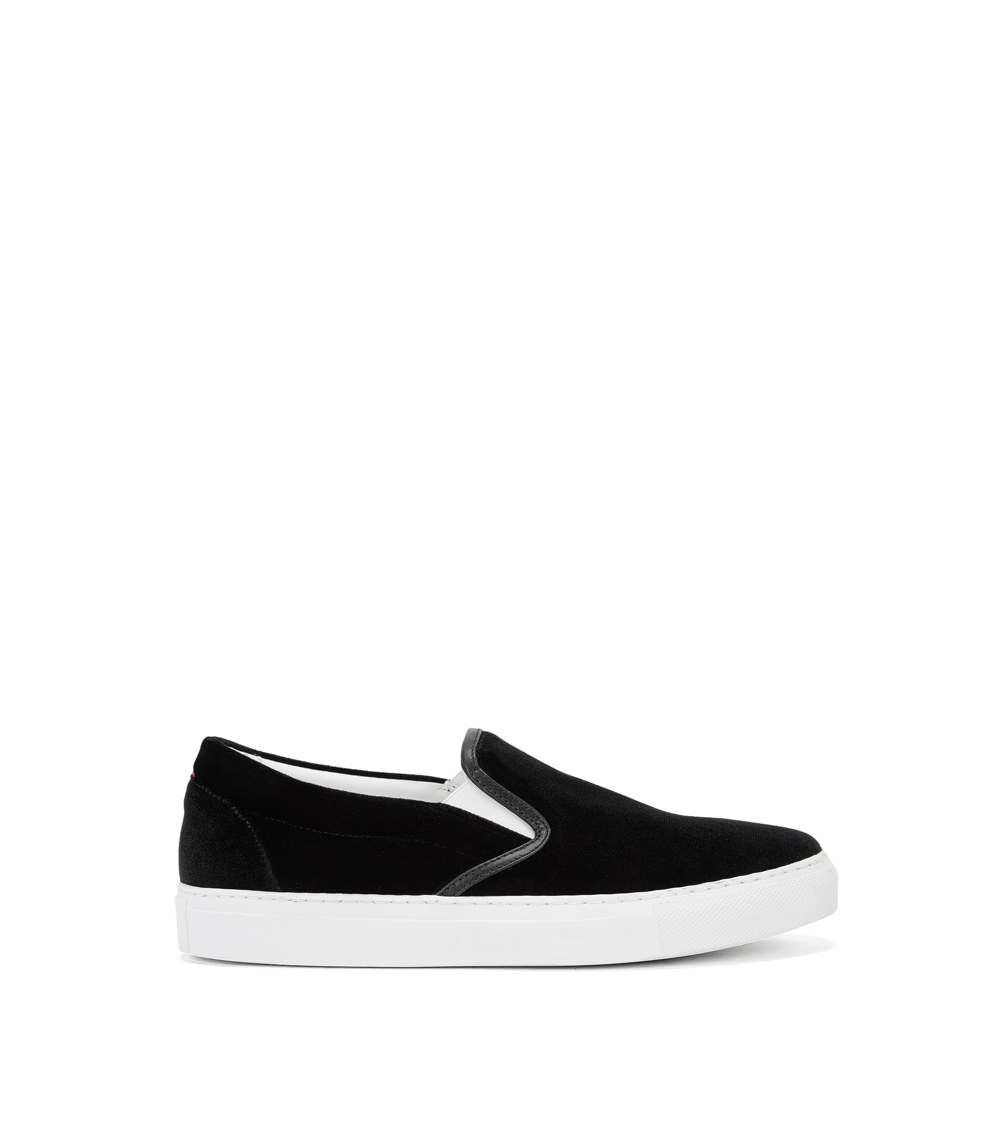 Slip-on trainers in smooth velvet, Black