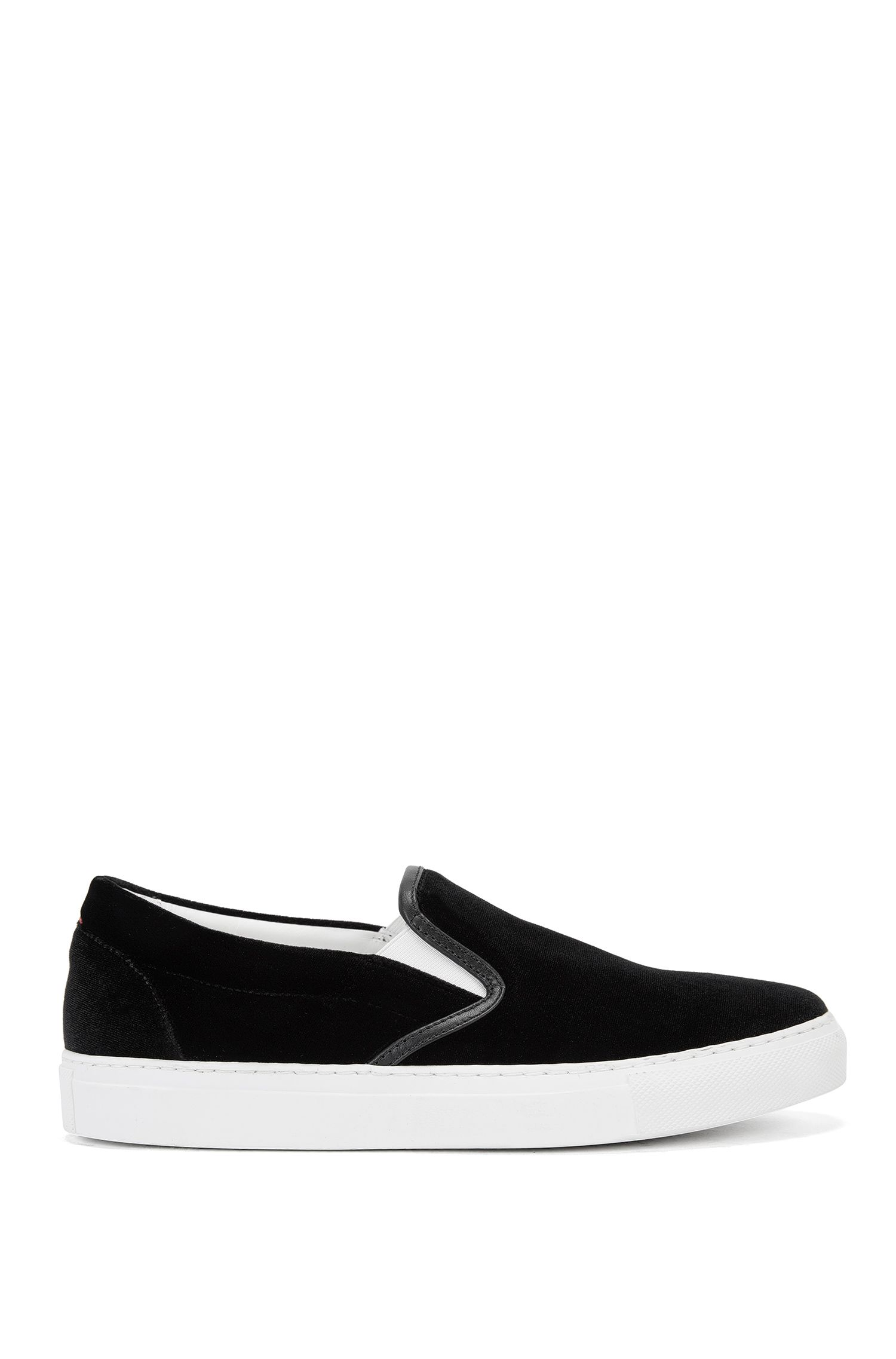 Slip-on trainers in smooth velvet