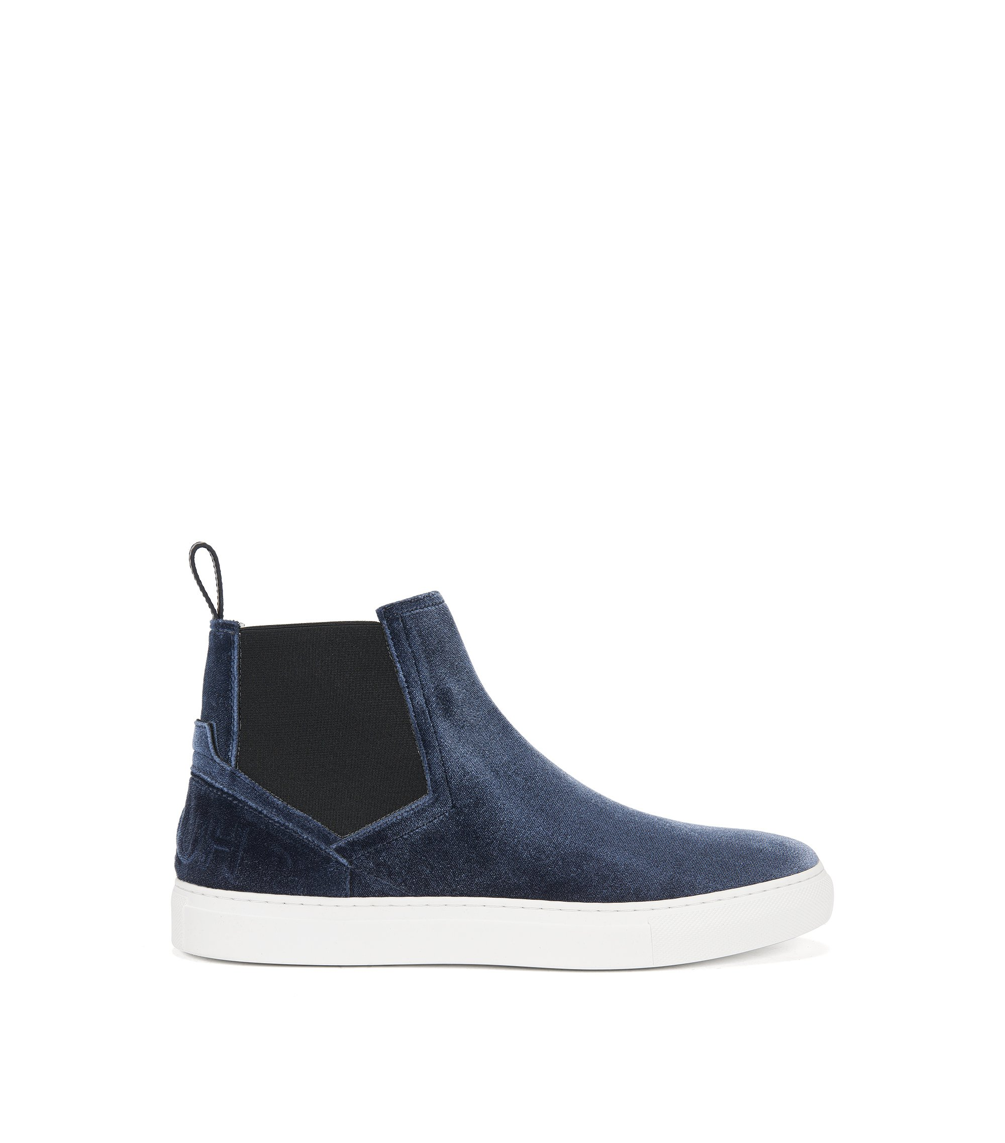 High-top trainers in soft velvet, Dark Grey