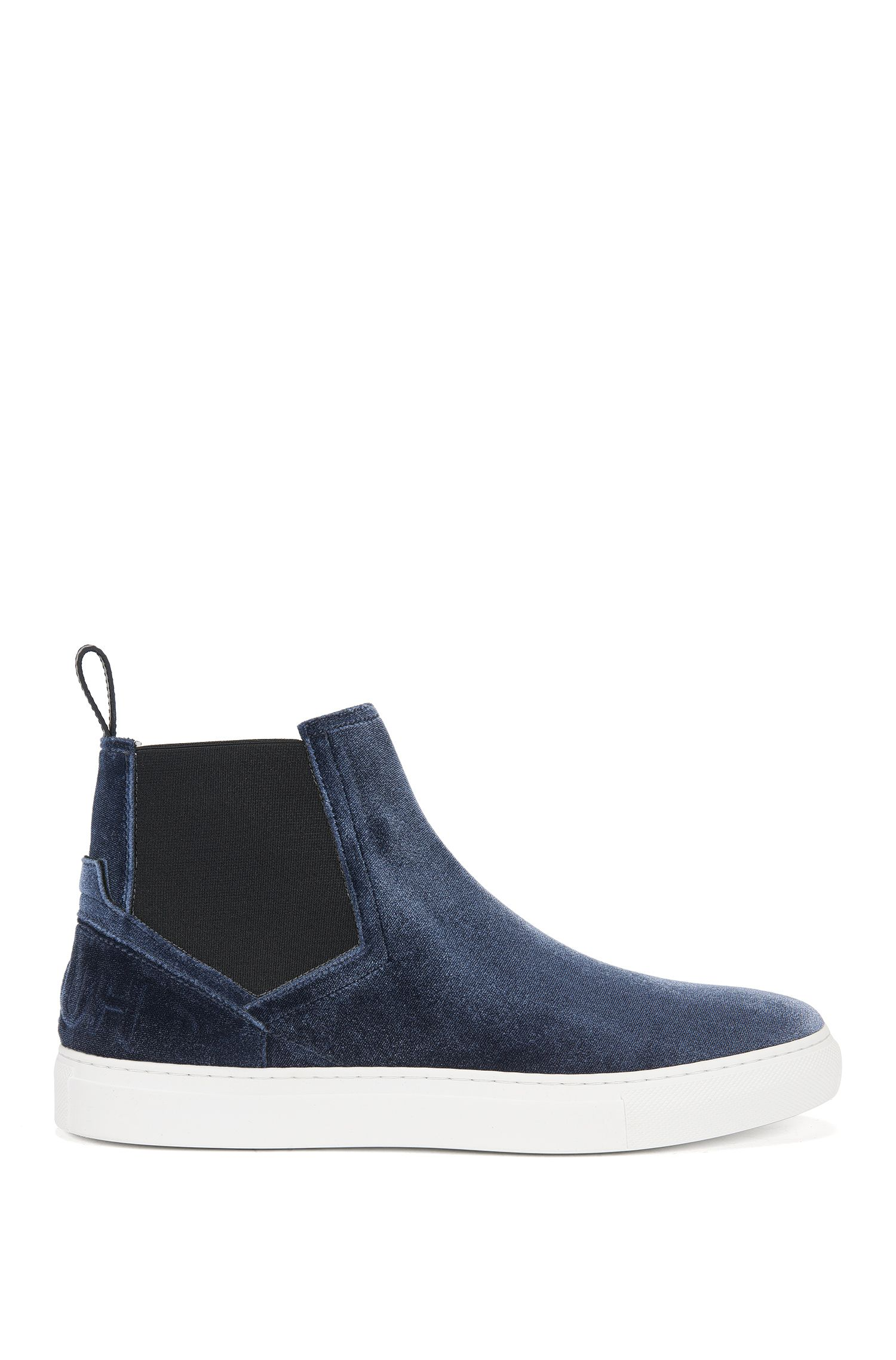 High-top trainers in soft velvet