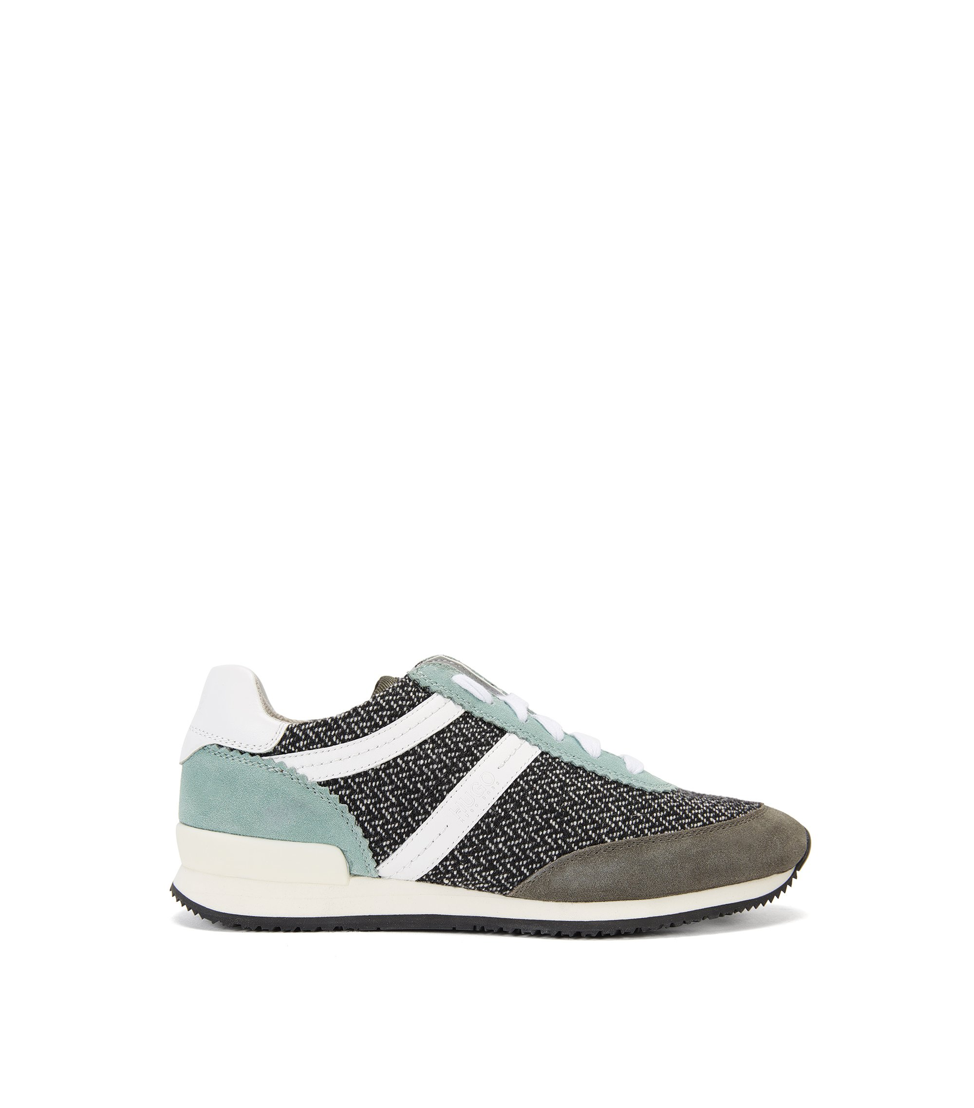 Colourblock trainers in a mix of materials, Green