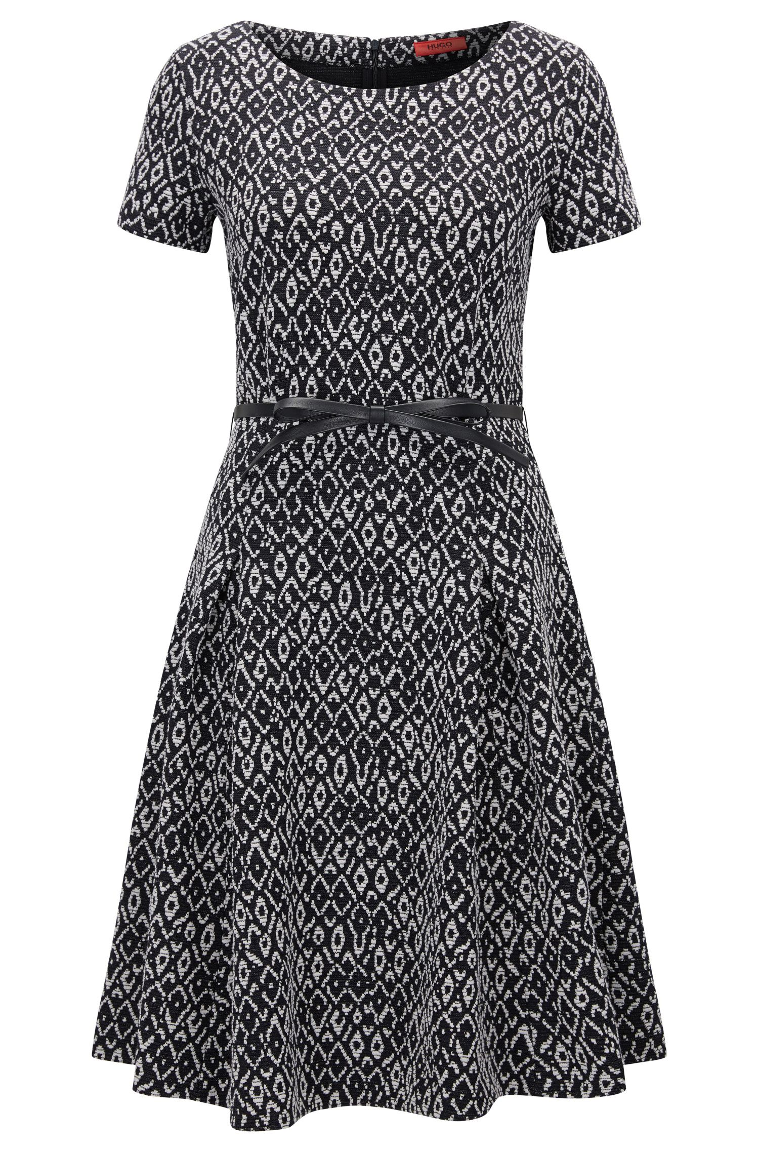 Slim-fit waisted dress in two-tone jacquard