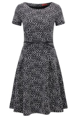 Slim-fit waisted dress in two-tone jacquard, Patterned