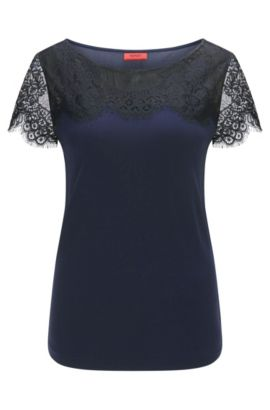 Relaxed-fit T-shirt met delicate kant, Donkerblauw