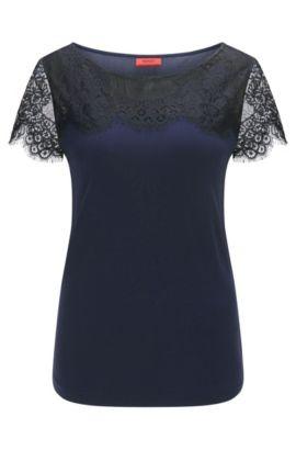 T-shirt Relaxed Fit orné de dentelle délicate, Bleu foncé