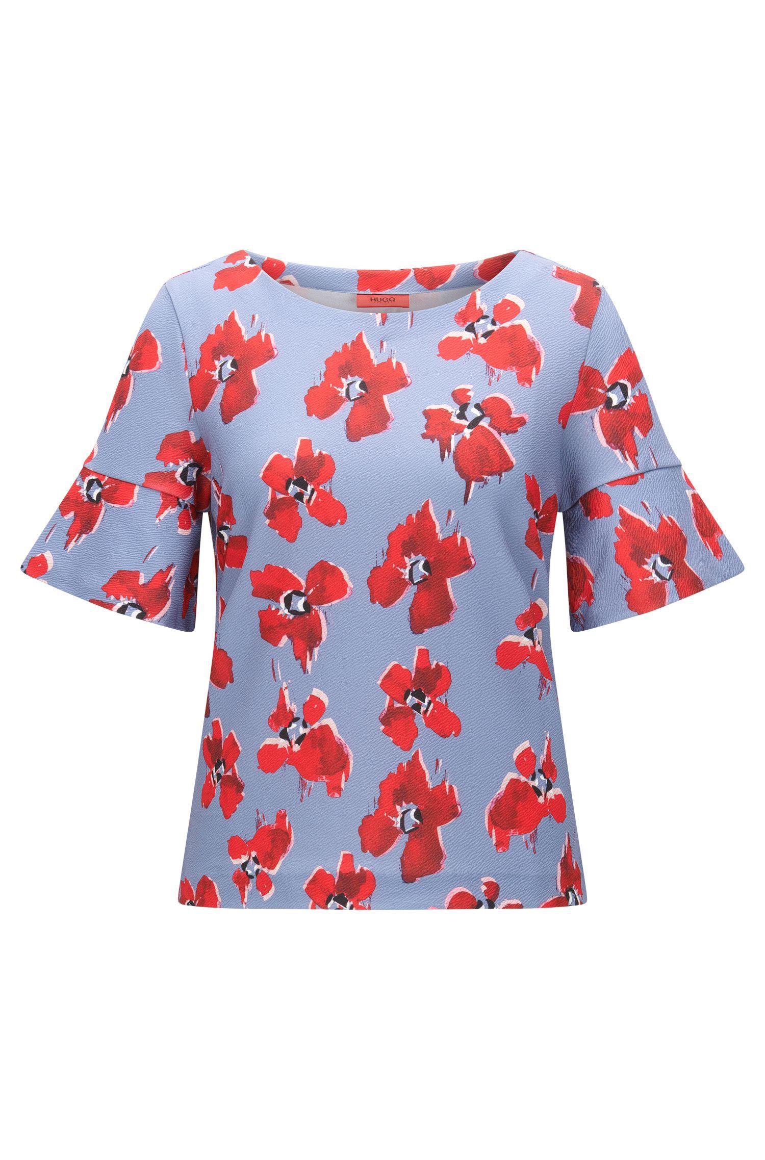 Top in jersey regular fit con stampa a fiori sfumata