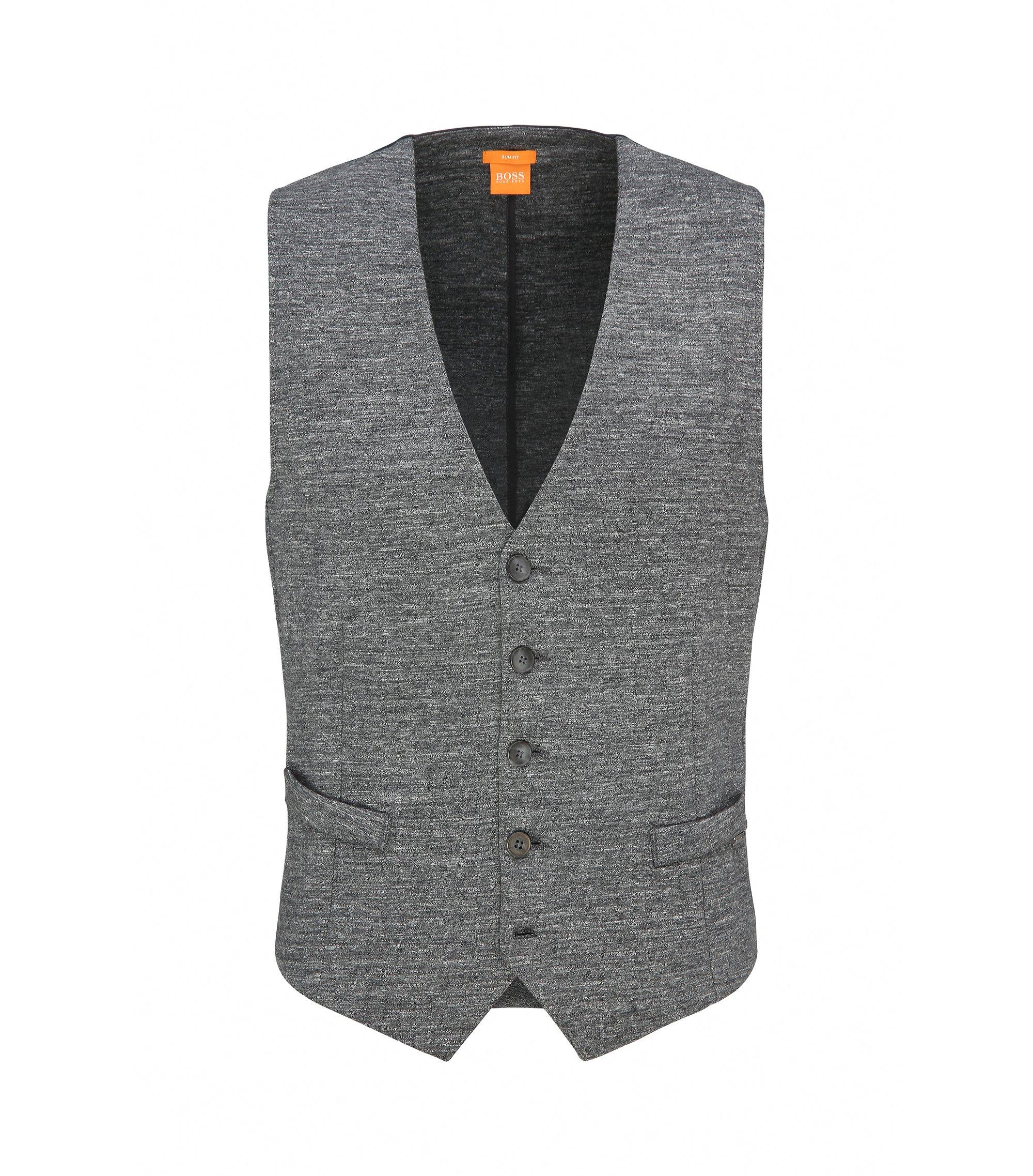 Slim-fit waistcoat in a cotton blend, Light Grey