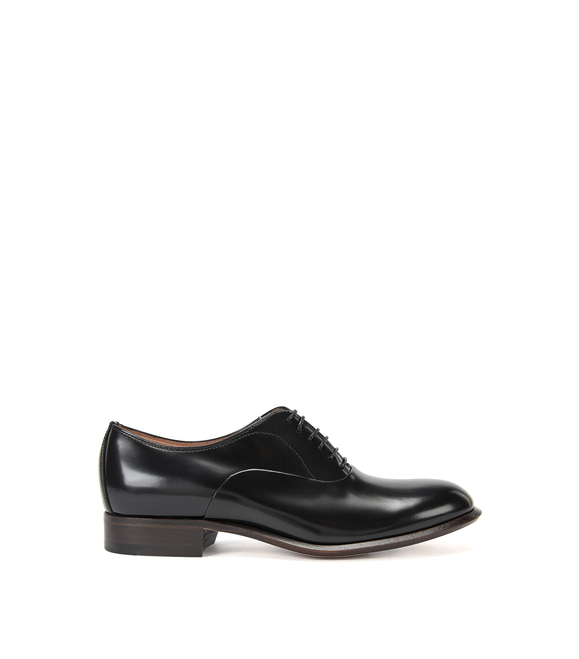 Lace-up shoes in Italian leather, Black