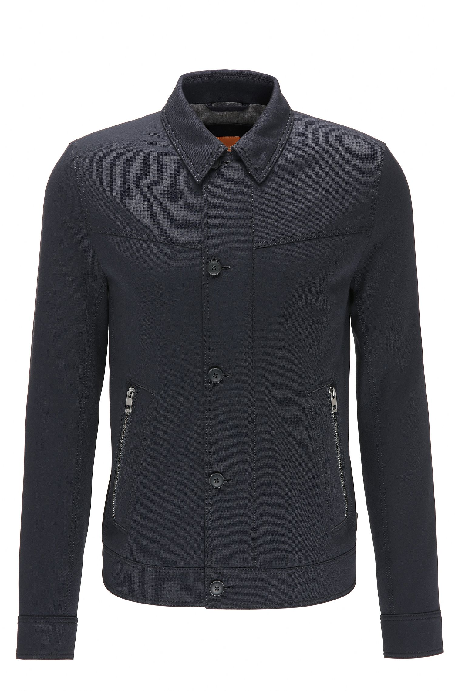 Slim-fit jacket in brushed stretch twill