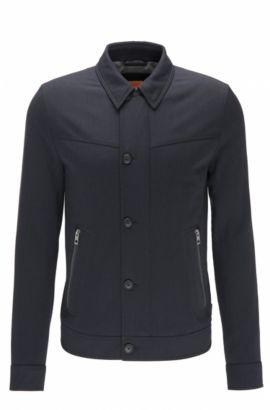 Slim-Fit Jacke aus elastischem, gebürstetem Material-Mix , Dunkelblau
