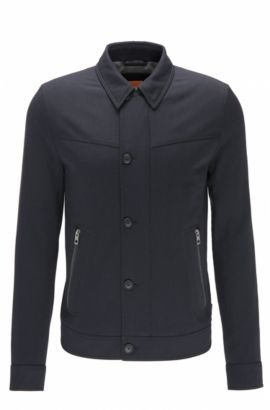 Slim-fit jacket in brushed stretch twill, Dark Blue