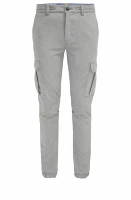 Tapered-fit cargobroek van garengeverfde twill, Lichtgrijs