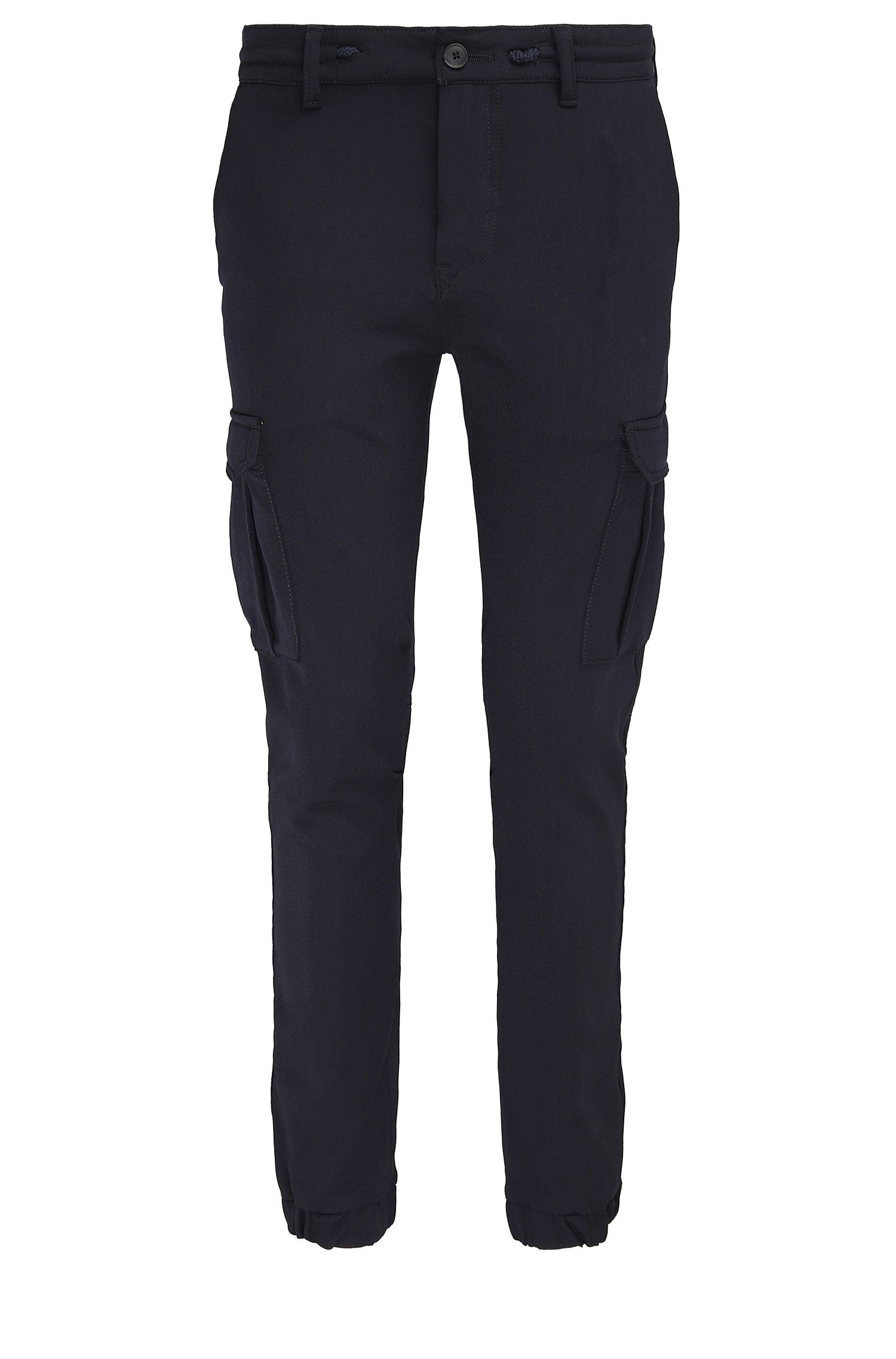 Pantaloni cargo tapered fit in twill tinto in filo
