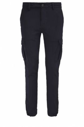 Tapered-fit cargobroek van garengeverfde twill, Donkerblauw