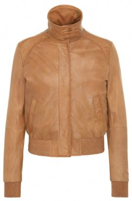 Regular-fit bomber jacket in soft leather, Light Brown