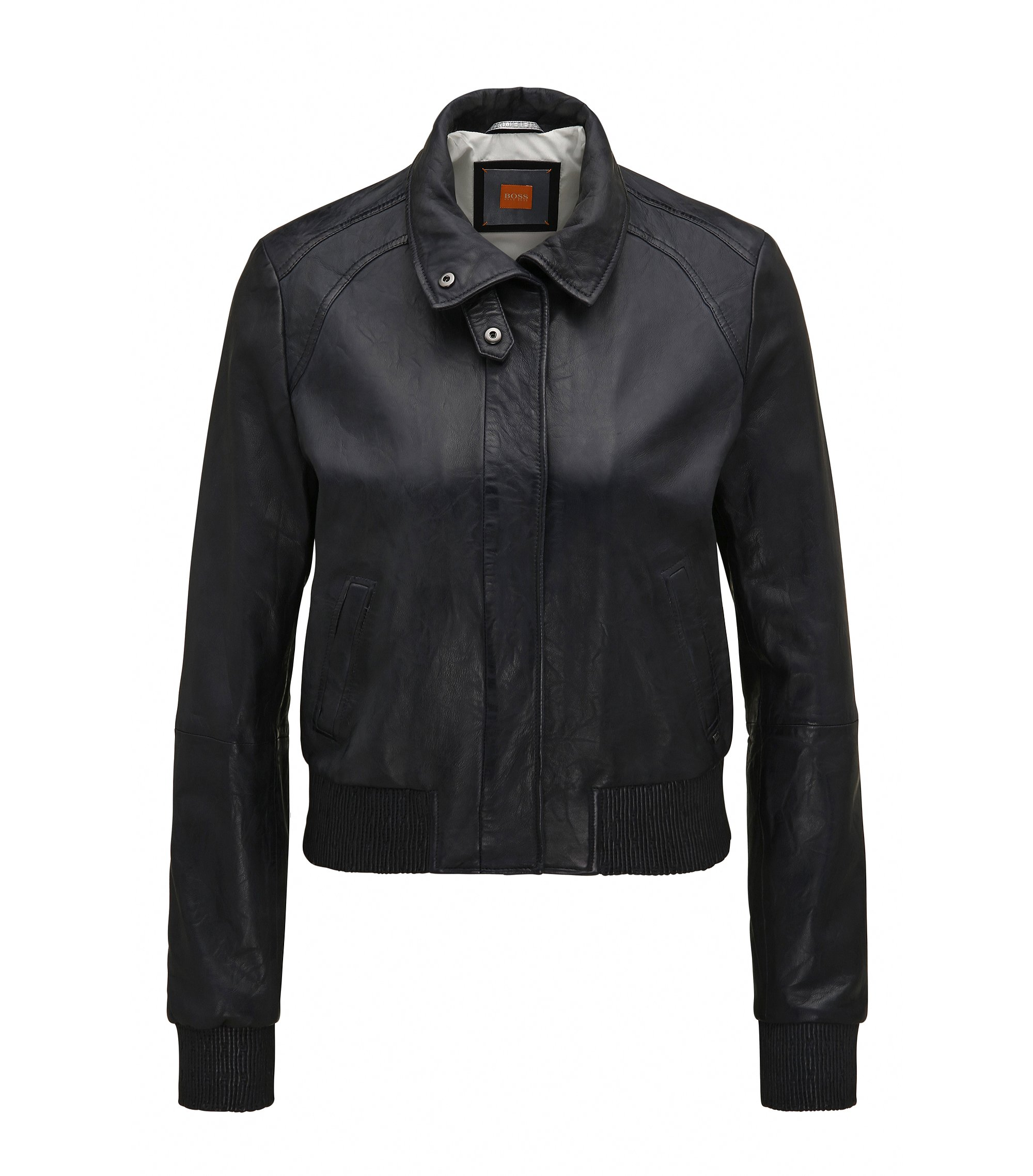Regular-fit bomber jacket in soft leather, Dark Blue