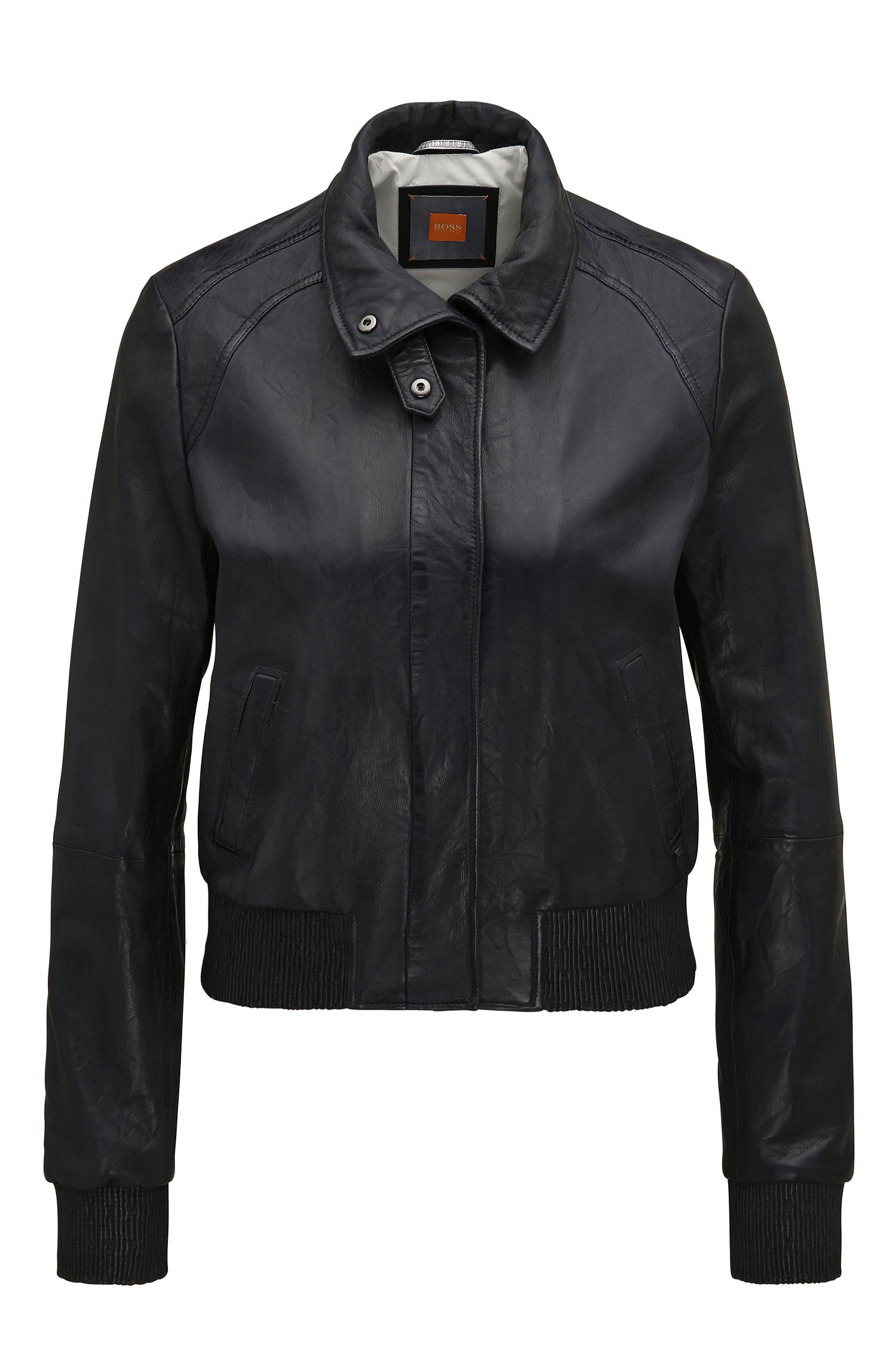 Regular-fit bomber jacket in soft leather
