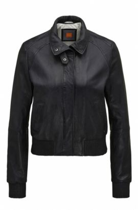 Bomber regular fit in morbida pelle, Blu scuro