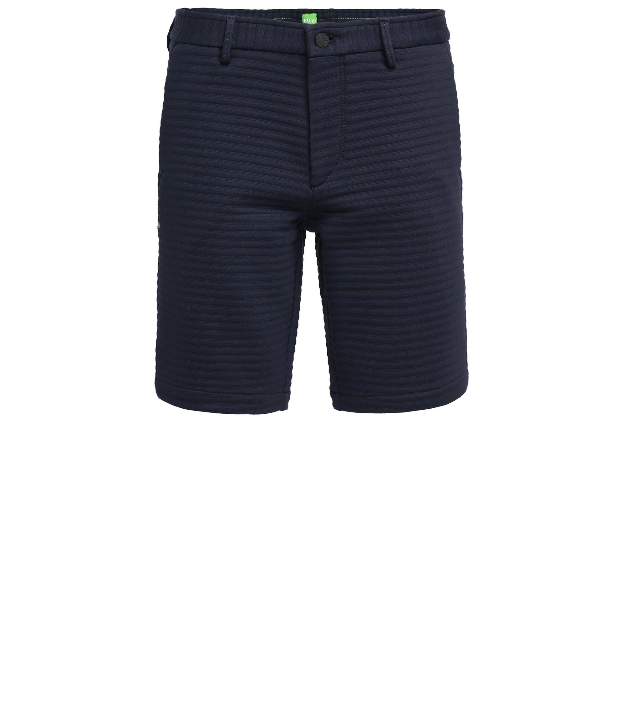 Slim-fit shorts in Italian structured jersey, Dark Blue