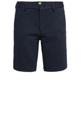 Slim-fit short van Italiaanse structuurjersey, Donkerblauw