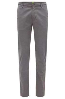 Slim-fit trousers in stretch pima cotton, Grey