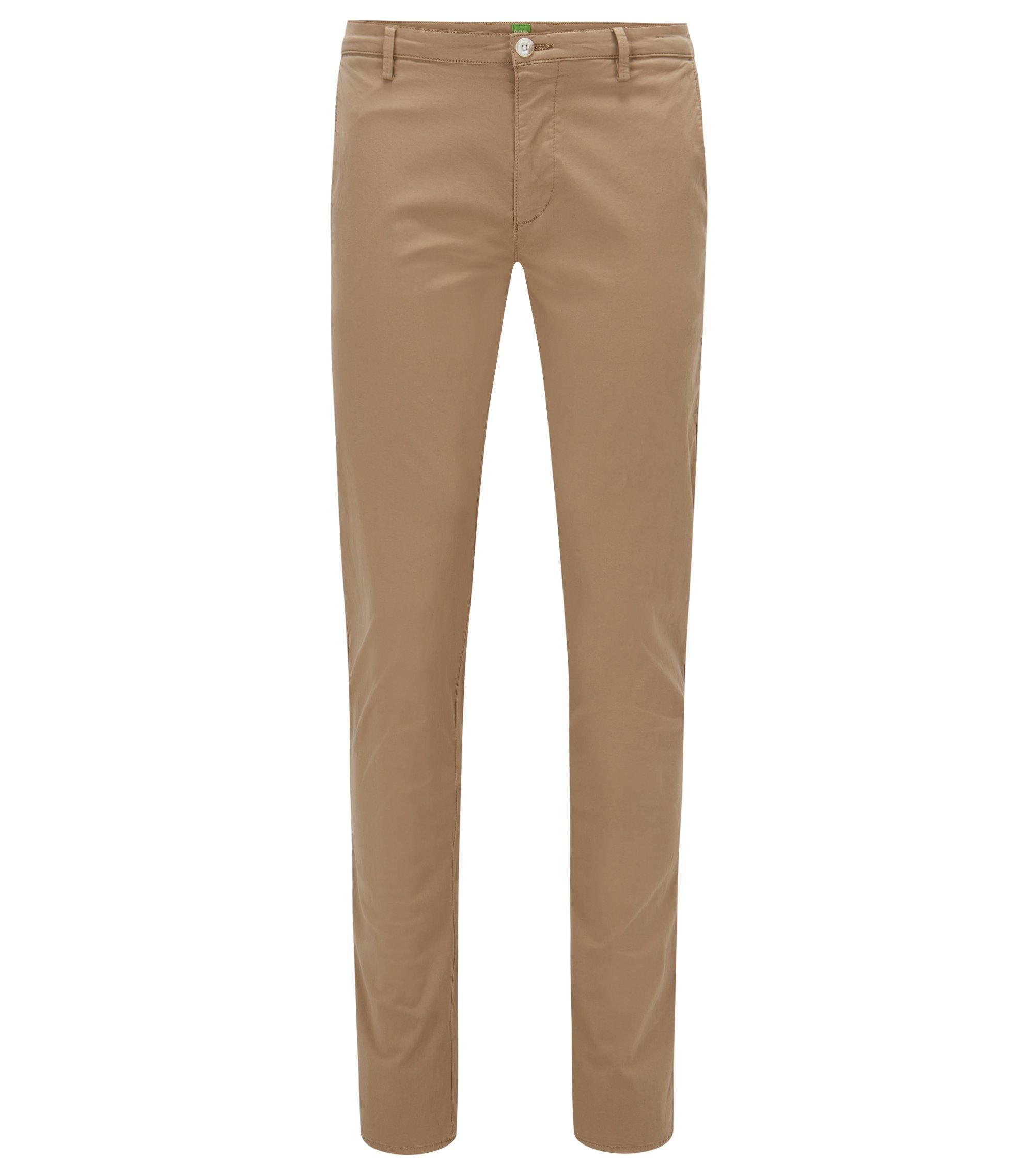Pantaloni slim fit in cotone Pima elasticizzato, Beige