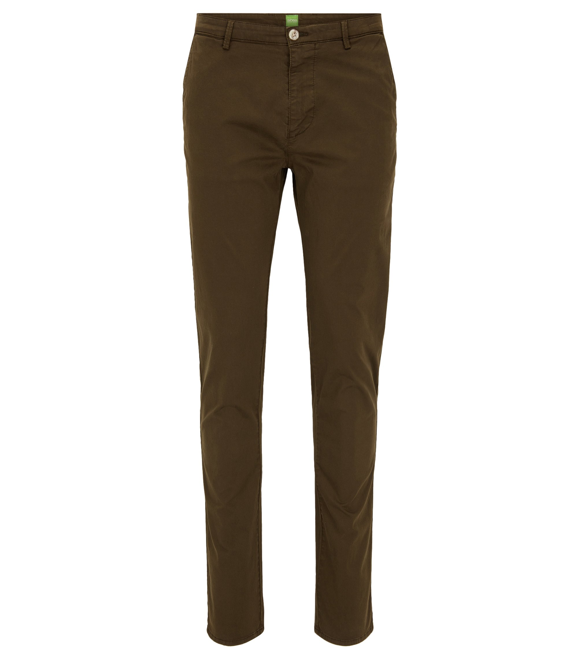 Pantalon Slim Fit en coton Pima stretch, Vert sombre