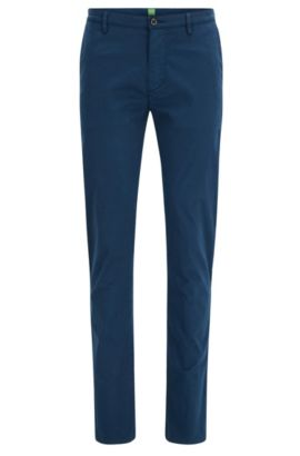 Slim-fit trousers in stretch pima cotton, Dark Blue