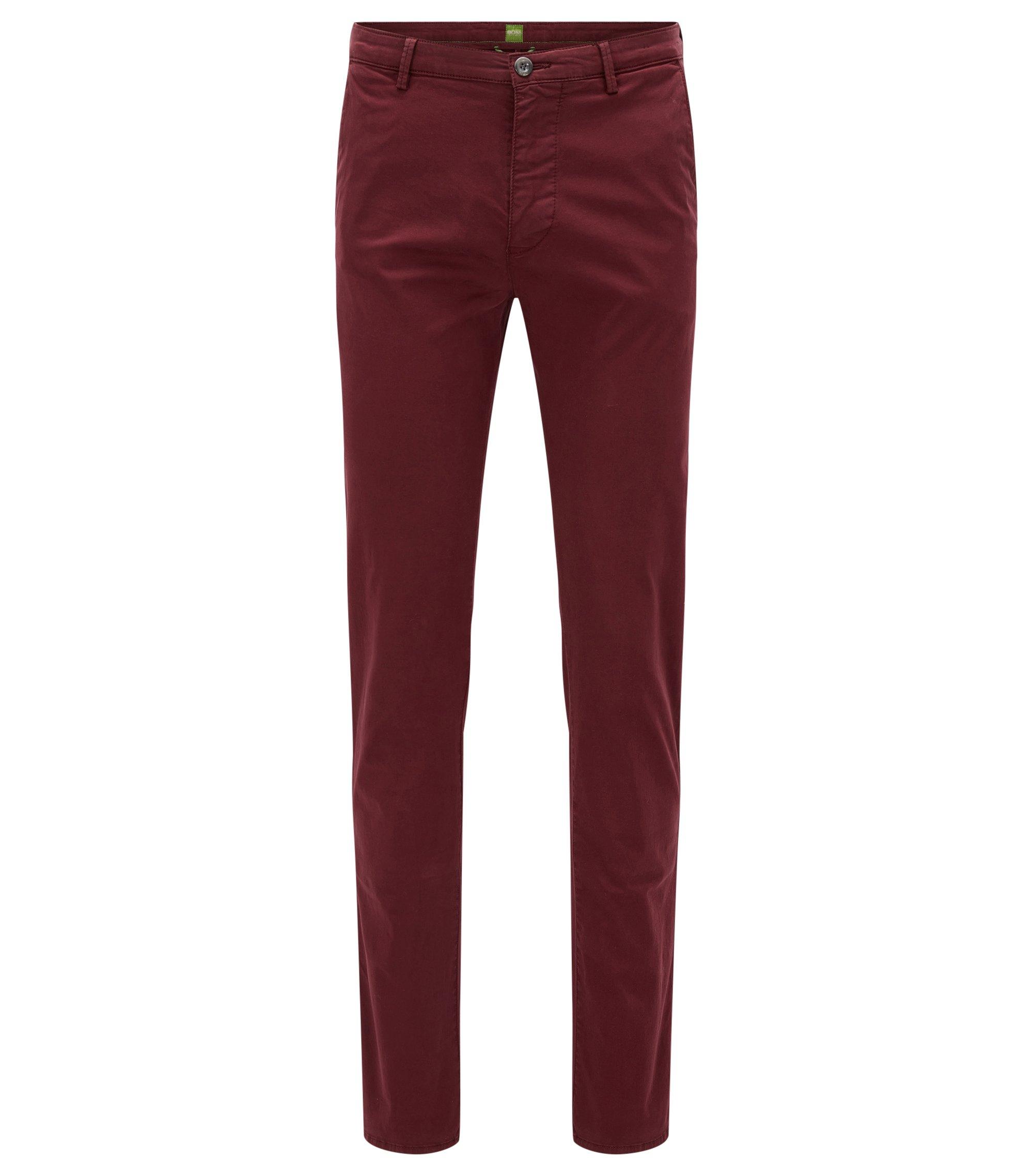 Slim-fit broek van elastische pimakatoen, Rood