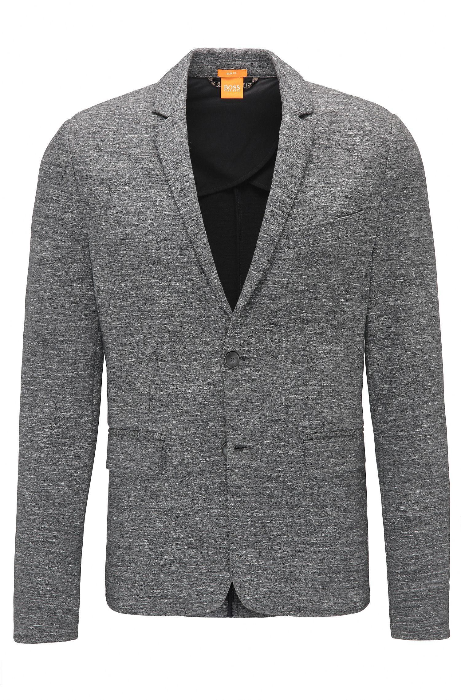 Slim-fit blazer in jersey van een katoenmix