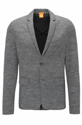 Slim-fit blazer in cotton-blend jersey , Light Grey