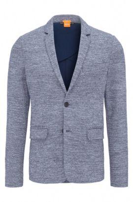 Blazer slim fit in jersey di misto cotone , Blu scuro