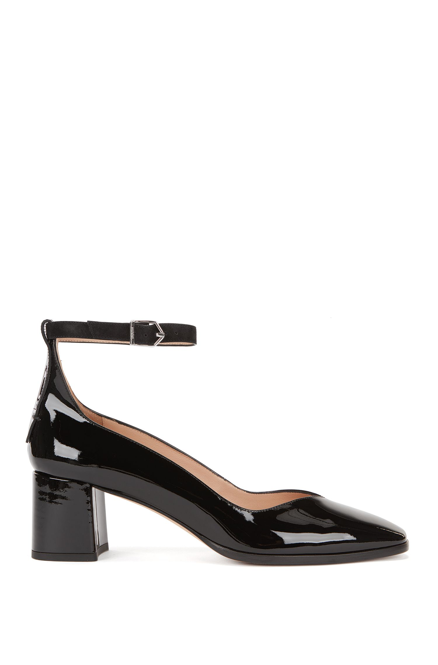 Leather pumps with ankle strap