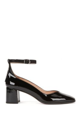 Leather pumps with ankle strap, Black