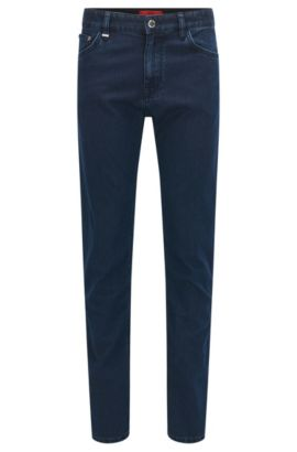 Jeans stretch Regular Fit en denim italien fin, Bleu foncé