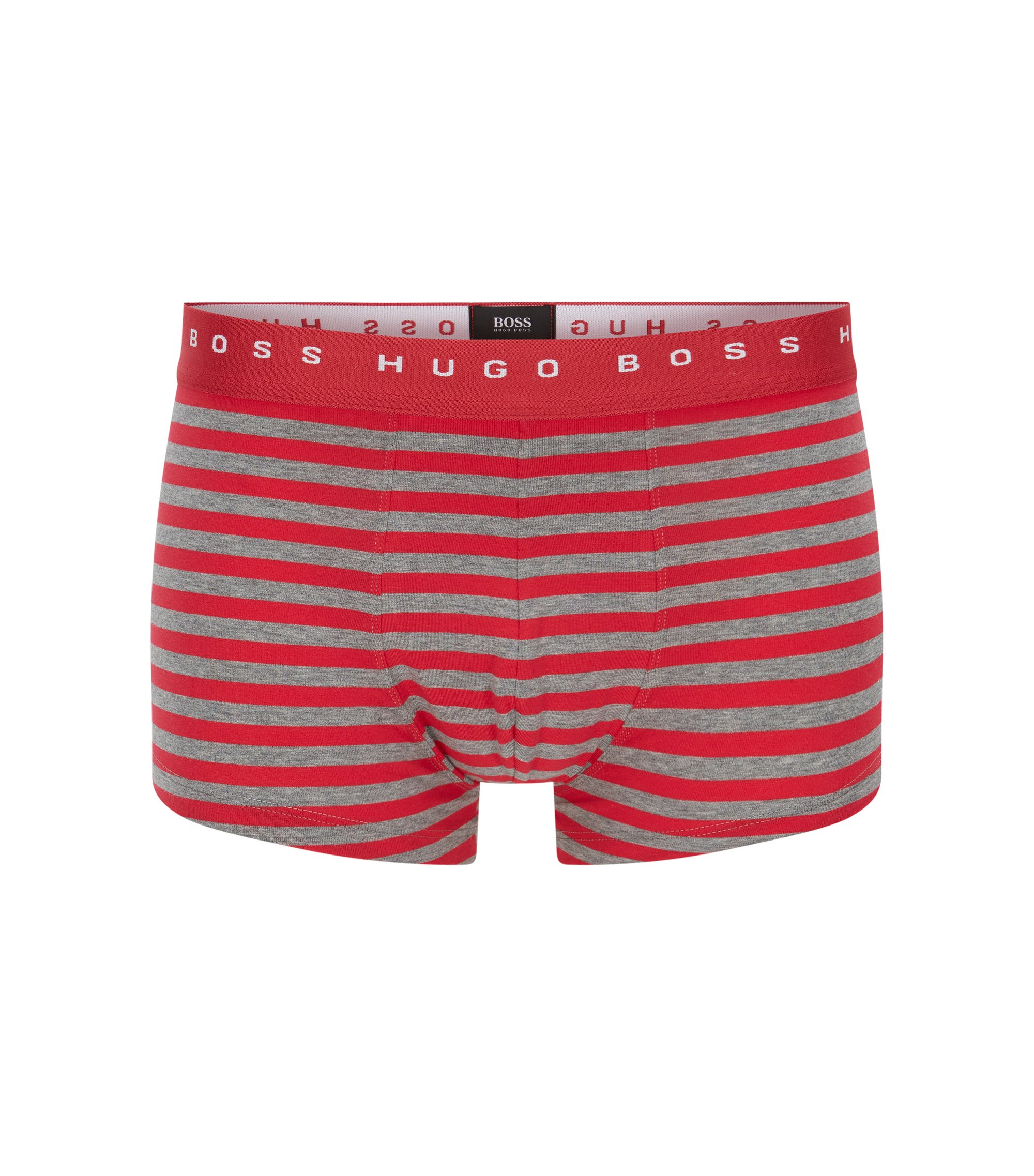 Straight-cut striped boxer shorts in stretch-cotton jersey, Open Pink