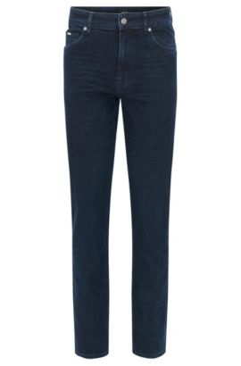 Relaxed-fit stretch-denim jeans with used finish, Dark Blue