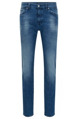 Jeans regular fit in denim elasticizzato con finiture scolorite, Blu