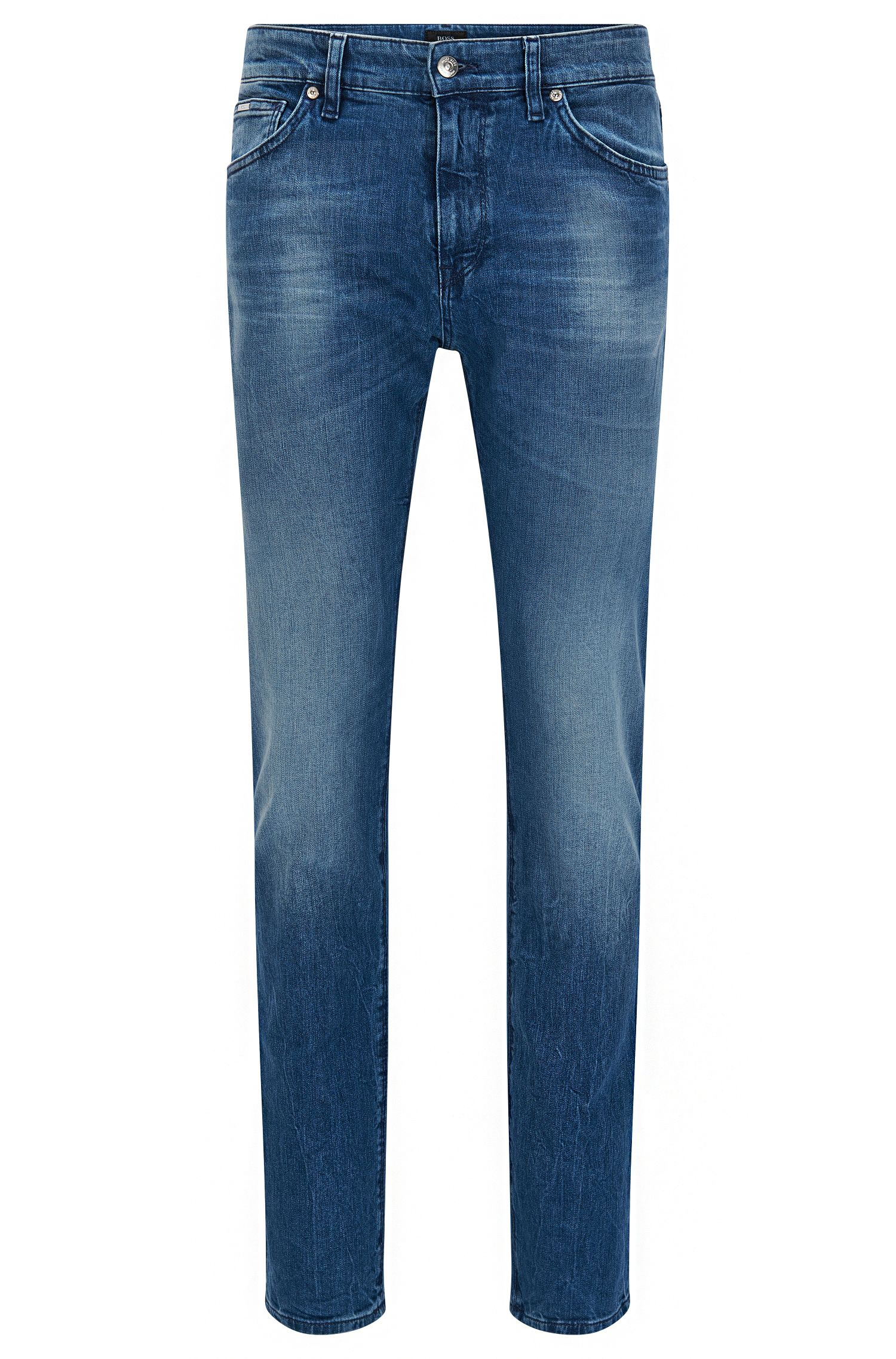 Jeans regular fit in denim elasticizzato con finiture scolorite