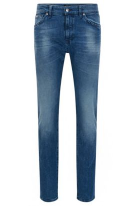Regular-fit jeans van stretchdenim met bleach-finish, Blauw
