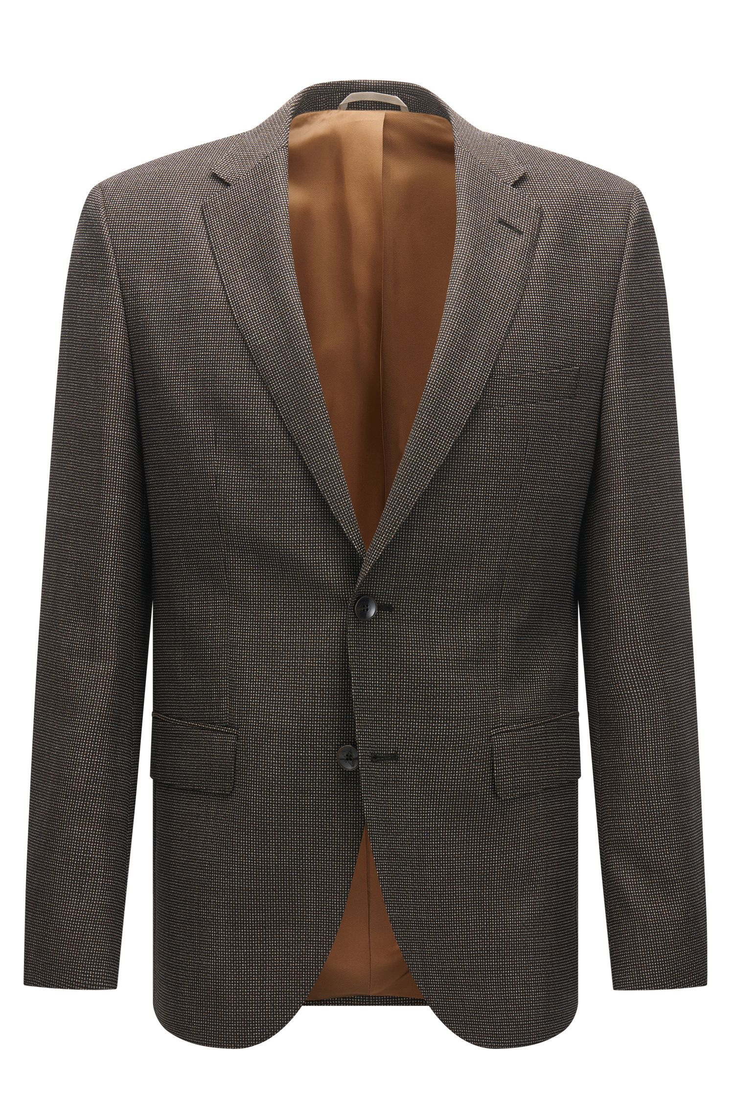 Regular-fit jacket in textured virgin wool