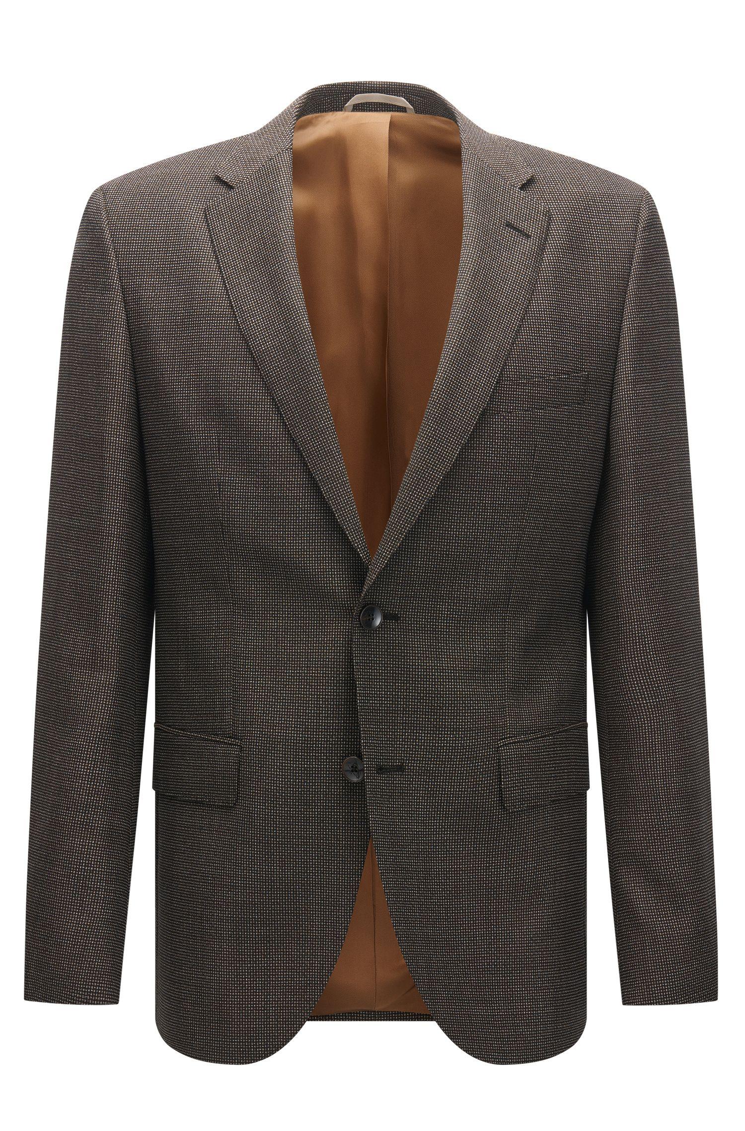 Chaqueta regular fit en lana virgen con textura