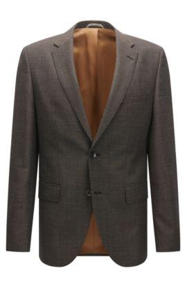 Regular-fit jacket in textured virgin wool, Brown