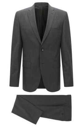 Regular-fit suit in virgin wool , Dark Grey