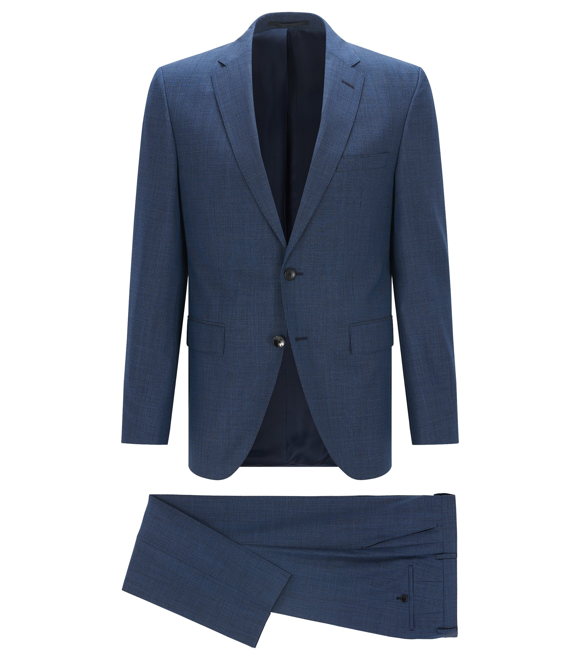 Regular-fit kostuum van scheerwol , Blauw