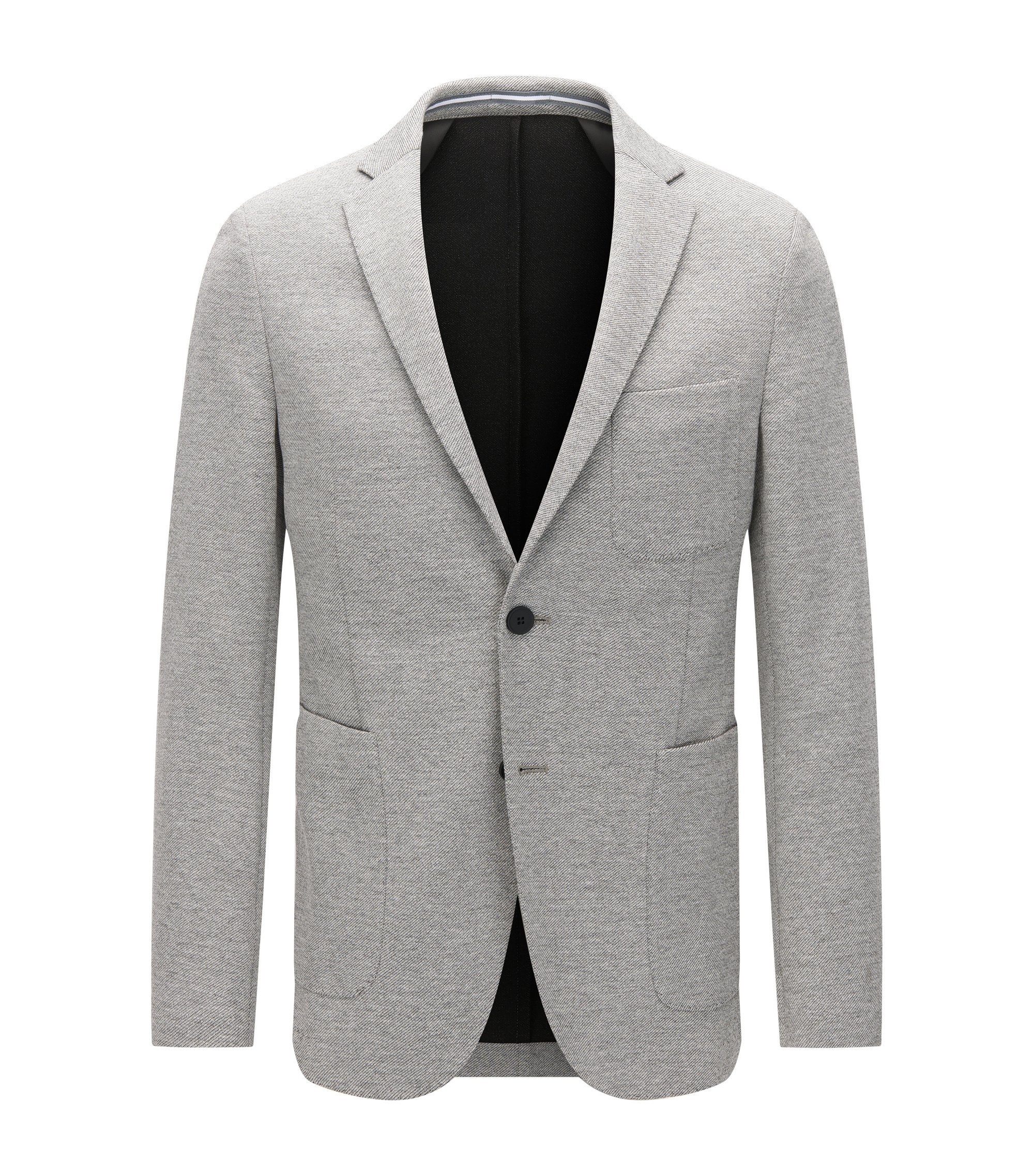 Slim-fit jacket in softly tailored jersey , Grey