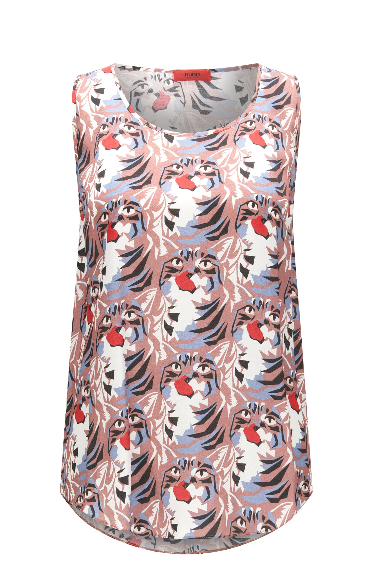 Seidiges Regular-Fit Top aus Material-Mix mit Katzen-Print